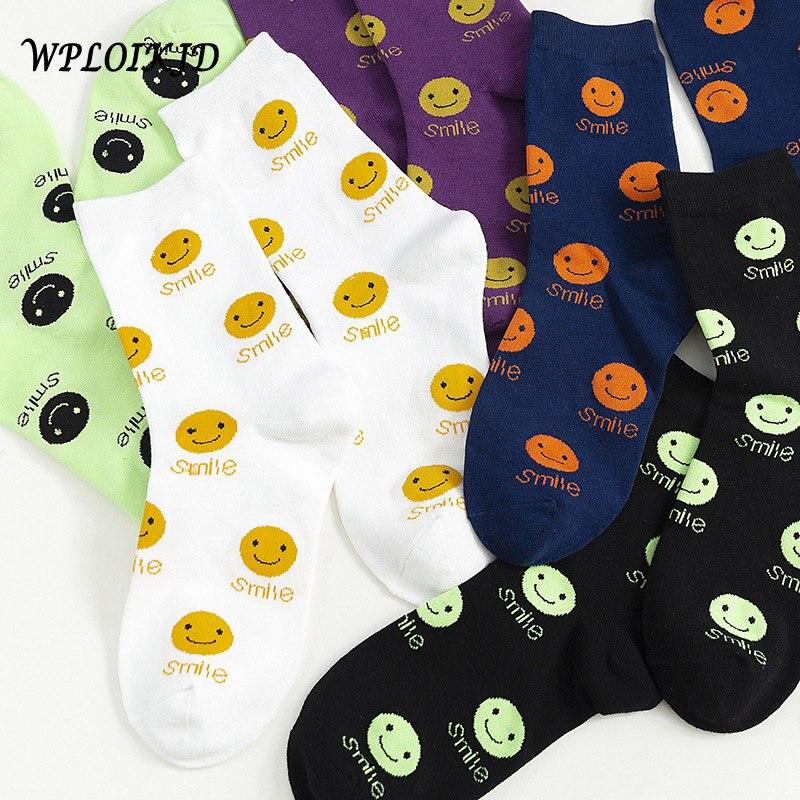 [WPLOIKJD] nuevo producto puro algodón señoras cara sonriente Calcetines mujeres personalidad moda divertido tobillo Calcetines Muje Sokken