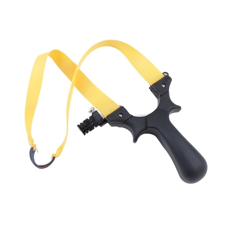 Outdoor Camping Resin Slingshot with Light Stainless Steel Strapless Flat Leather Slingshot Can Be Used At Night
