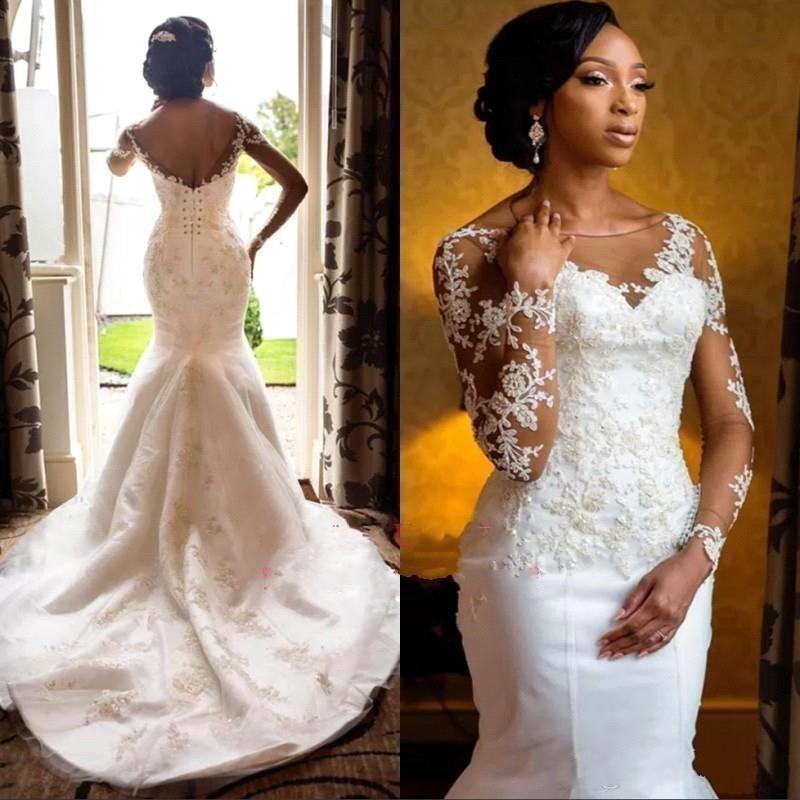 Свадебные платья в африканском стиле с длинными рукавами, кружевные свадебные платья с аппликацией, корсет на спине