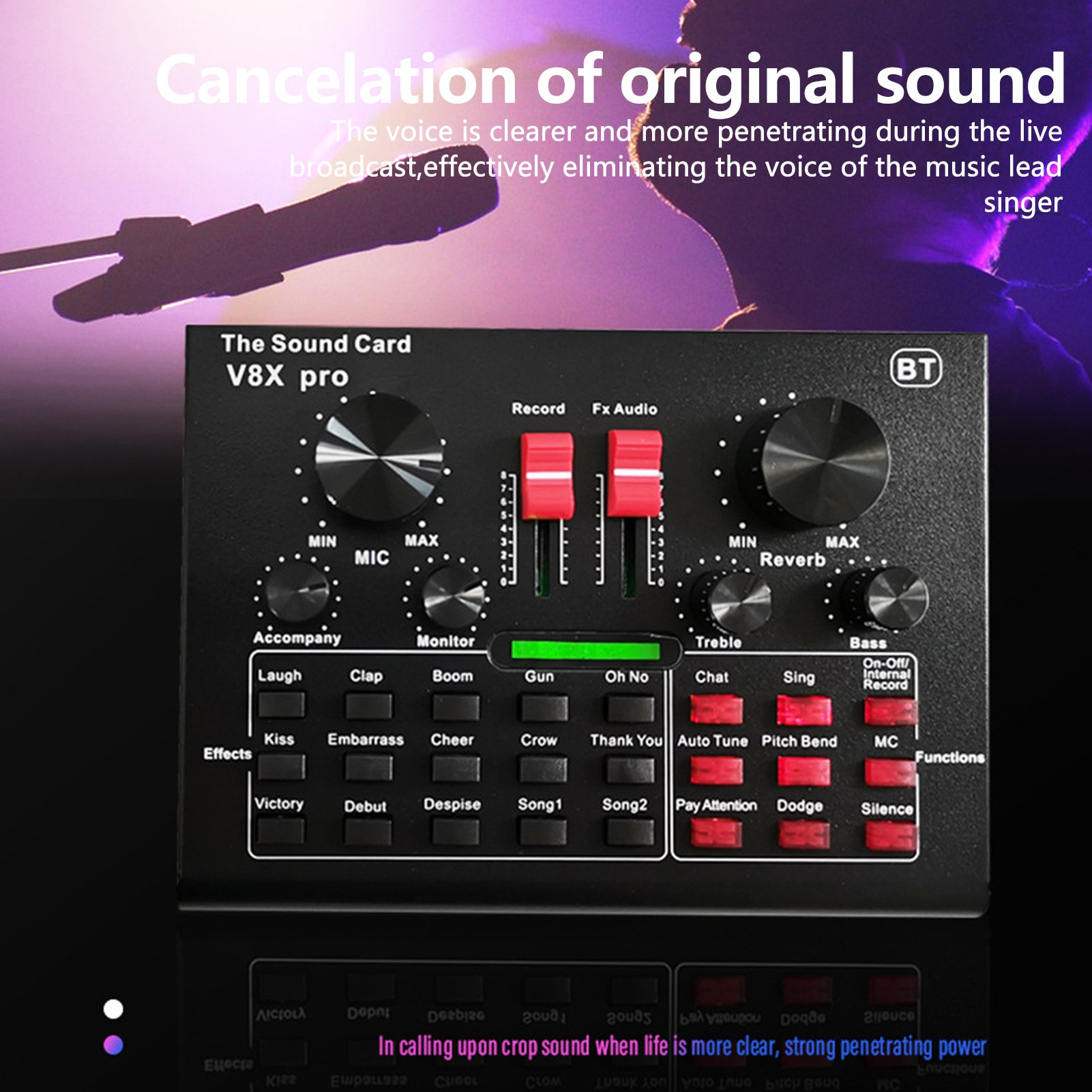 V8X Pro Live Sound Card 15 Sound Effects Audio Recording Equipments With BT function Intelligent