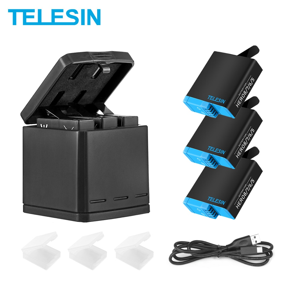 TELESIN 3 Way LED Battery Charger + 3 Battery Pack Charging Box Type-C Cable for GoPro Hero 8 7 6 Hero 5 Black Accessories Set telesin 3 way led battery charger 3 battery pack charging box type c cable for gopro hero 8 7 6 hero 5 black accessories set