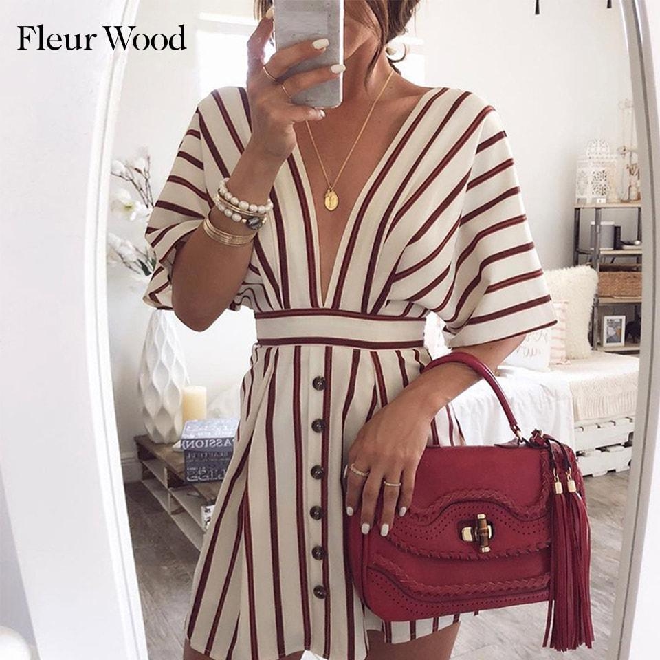 Fleur Wood Deep V Neck Sexy Dress Women Summer Striped Print Short Sleeve Button Casual Streetwear Loose Vintage Dress Vestidos