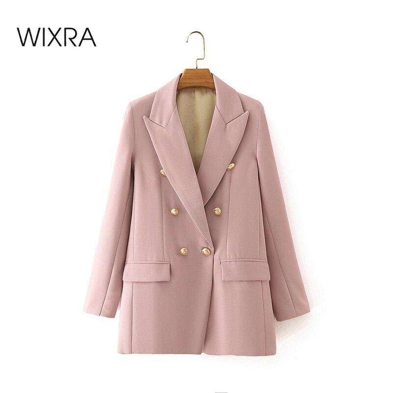 Wixra blazer blazer de manga completa dupla breasted feminino jaqueta casual sólida meninas officewear terno blazer outwear casaco