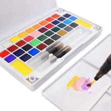 12/18/24/36 colores portátiles de viaje sólido pigmento acuarela pinturas Set con pincel de con depósito de agua para acuarela pluma para pintura arte suministros caliente *