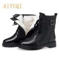 aiyuqi 2021 new genuine leather martin boots ladies wool warm women winter boots shoes motorcycle boots women