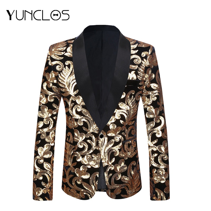 Hot Sale  Business Blazer Men Sequin Party Jackets For Banquet Tuxedos Singer Stages England Style