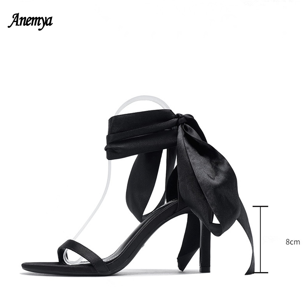 Tie Bow Fairy Style One Line High Heels Sandals Women Elegant Ankle Strap Party Shoes Woman Black White Wedding Shoes Summer New