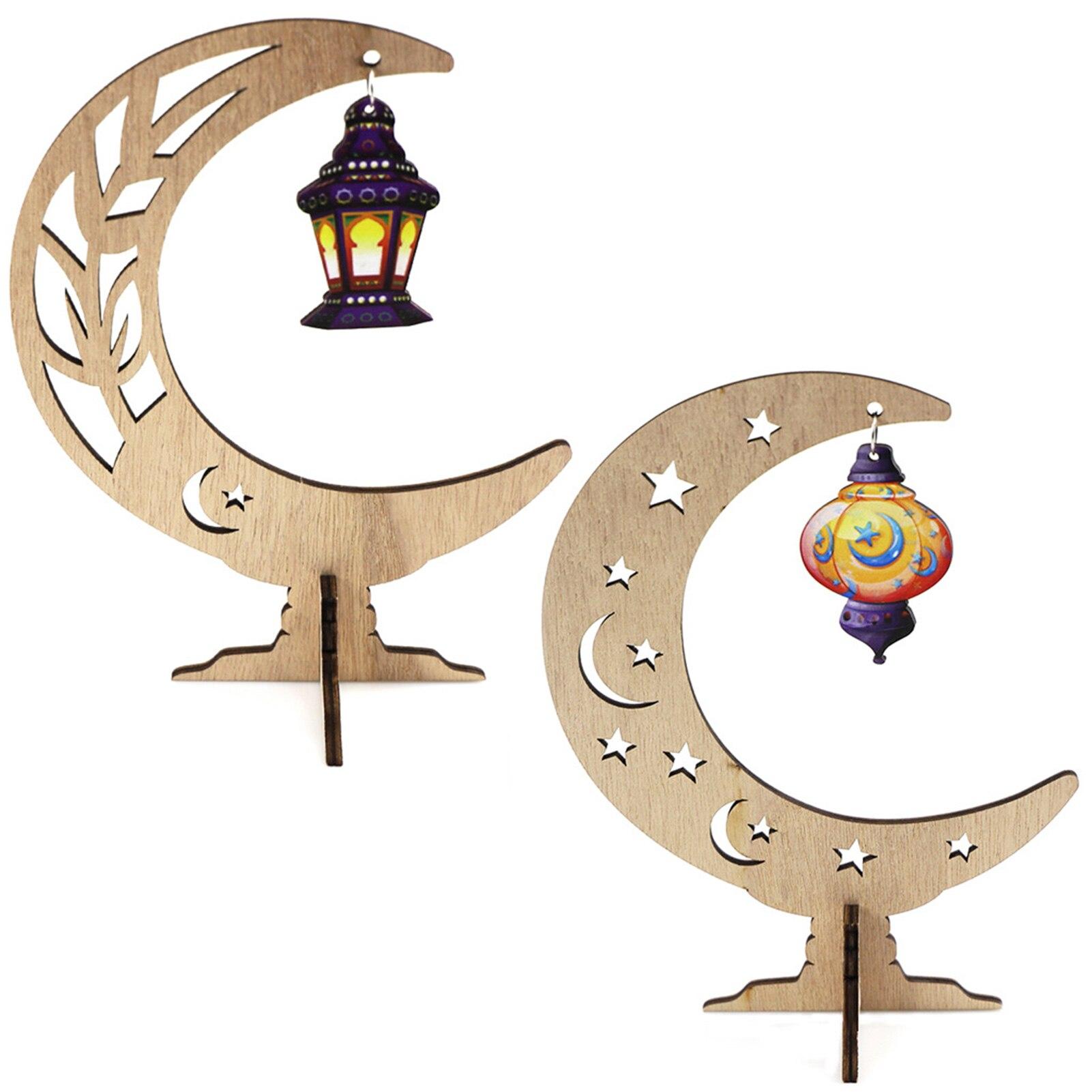 Home Decor DIY Wooden Eid Crafts Islam Mubarak Party Supplies Moon Ornament Ramadan Decoration