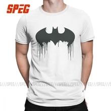 Camisetas con Logo de Batman Symbol Spraypaint, camisetas Vintage de algodón para hombre, Camiseta de cuello redondo, ropa de manga corta de talla grande 4XL 5XL