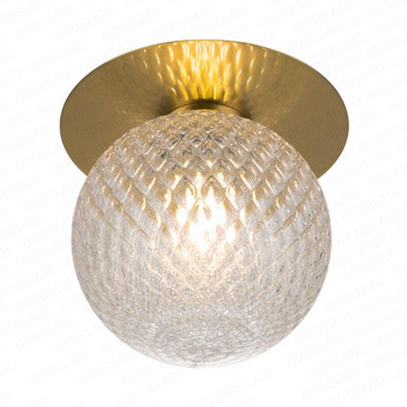 Nordic Glass ball Ceiling lamp Retro Loft Vintage Ceiling Light Russia corridor light Modern copper E27 Ceiling Glass Lampshade