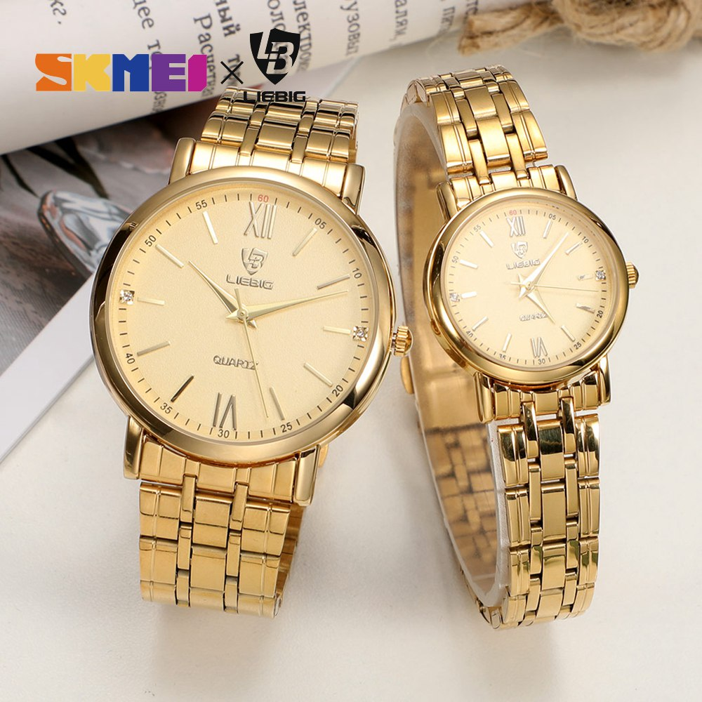 10pcs/lot Gold Couple Watches For Lovers Fashion Quartz Waterproof Full Stainless Steel Wristwatches Parejas Regalos L1014