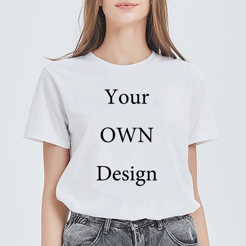 New T Shirt Female Harajuku Customized Print T-shirt DIY Photo Logo Brand Funny Tshirt Elegant Top Casual CUSTOM TEXT Ropa Mujer