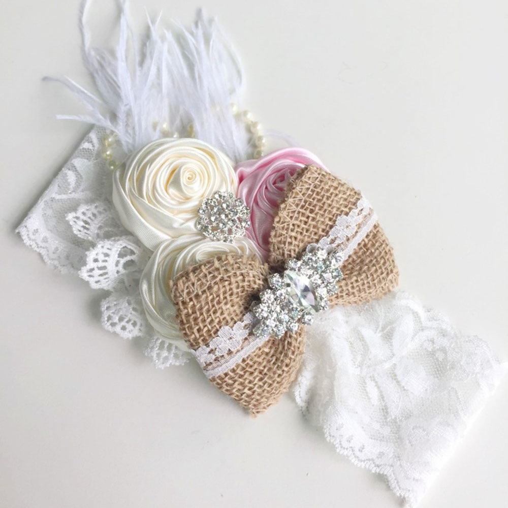Boutique Crystal Linen Silk Rose Flower Baby Headband Feather Lace Pearl Hair Band for Girl Handmade Accessories