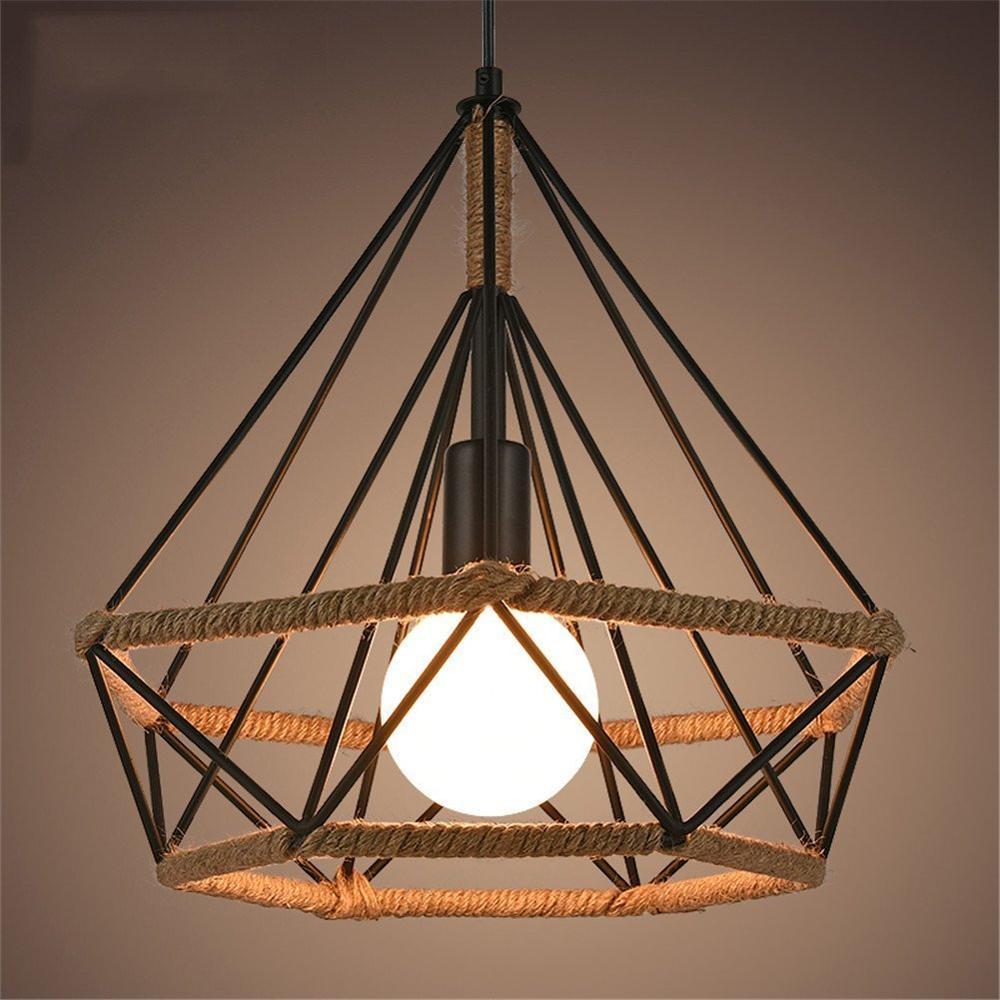 Vintage jaula colgante luz lámpara Retro Loft Pirámide de cuerda de cáñamo estilo lámpara de café comedor diámetro 25cm techo lámpara de noche luz