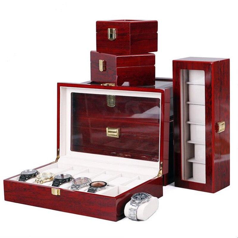 Grades de Madeira Caixa de Relógio Organizador para Relógios 10 12 Vermelho Titular Jóias Relógio Men Boite Montre Melhor Presente 2 – 3 5 6