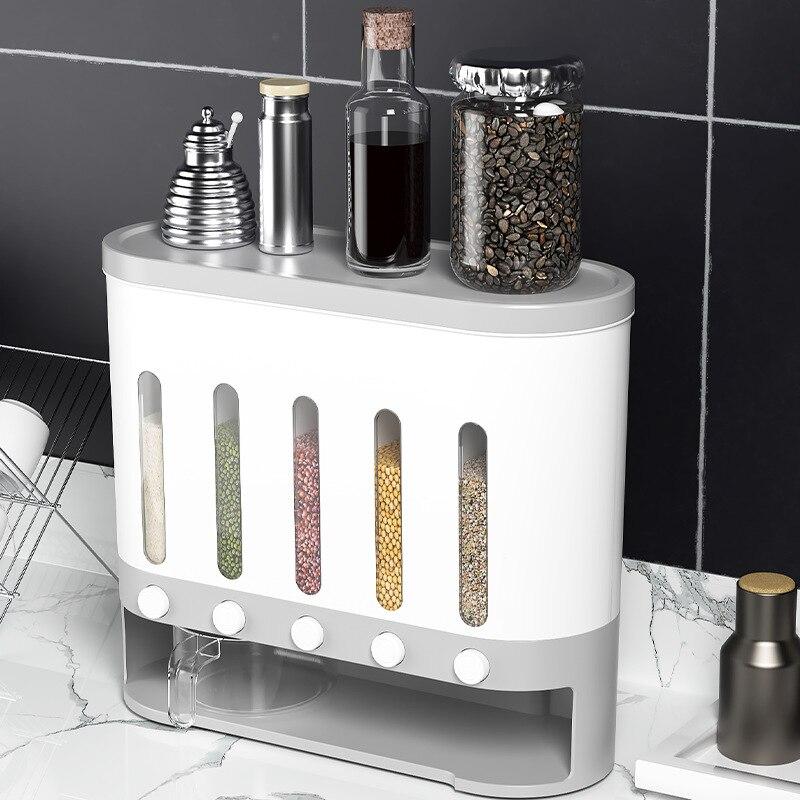 برميل أرز محكم الغلق مثبت على الحائط ، 5 شبكات ، حاوية حبوب كاملة إبداعية ، صندوق حبوب دقيق مضاد للحشرات للمطبخ