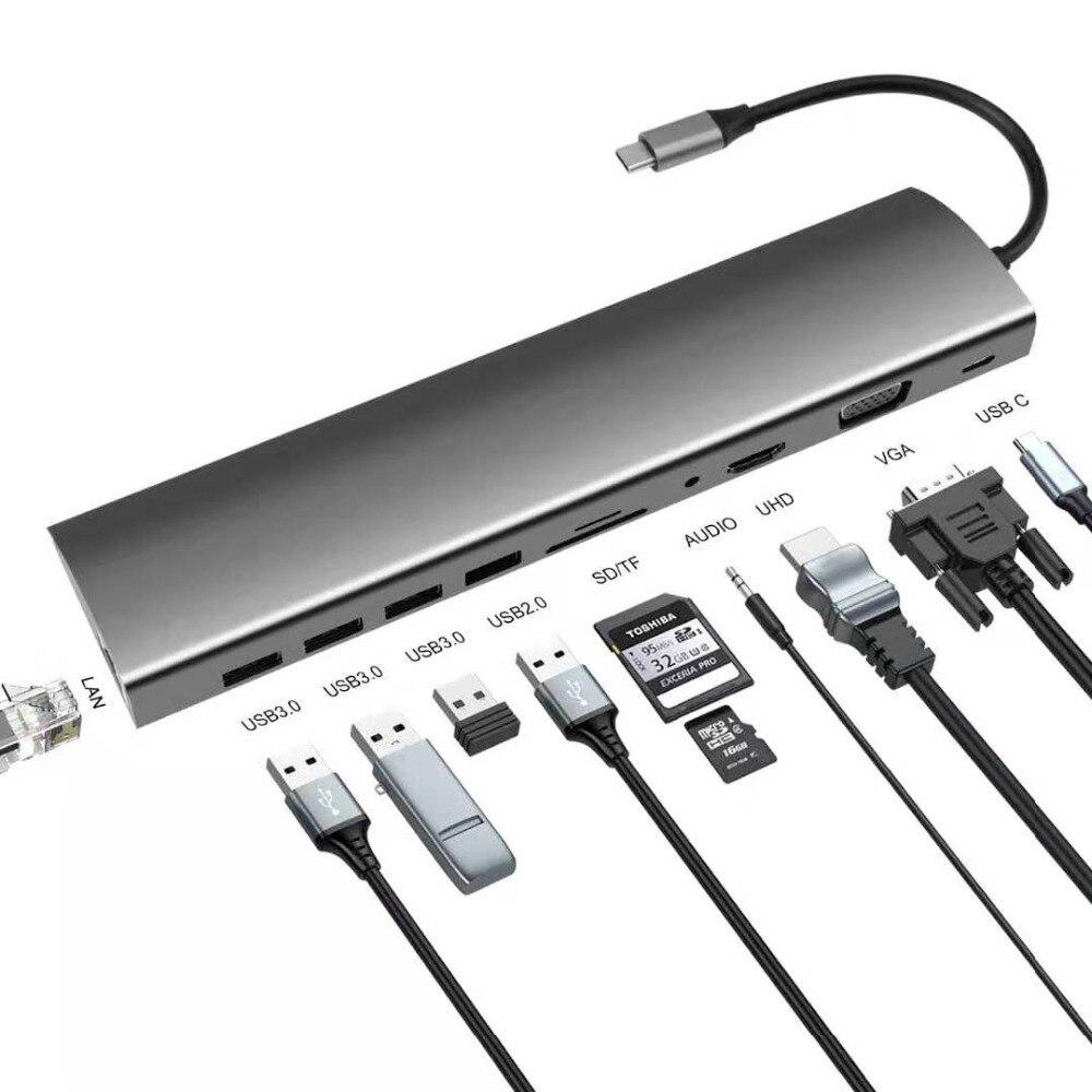 11 En 1 Tipo C Hub USB tipo C a HDMI VGA RJ45 USB 3,0 puertos SD/lector de tarjetas TF USB-C entrega de energía para MacBook Pro con PD