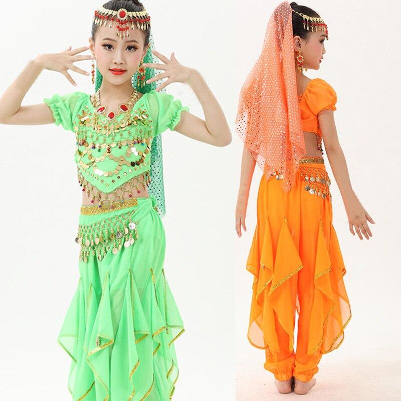 Детский костюм для танца живота для девочек, индийский танцевальный костюм, Сари, Болливуд, детский наряд, шифоновый костюм для танца живота...