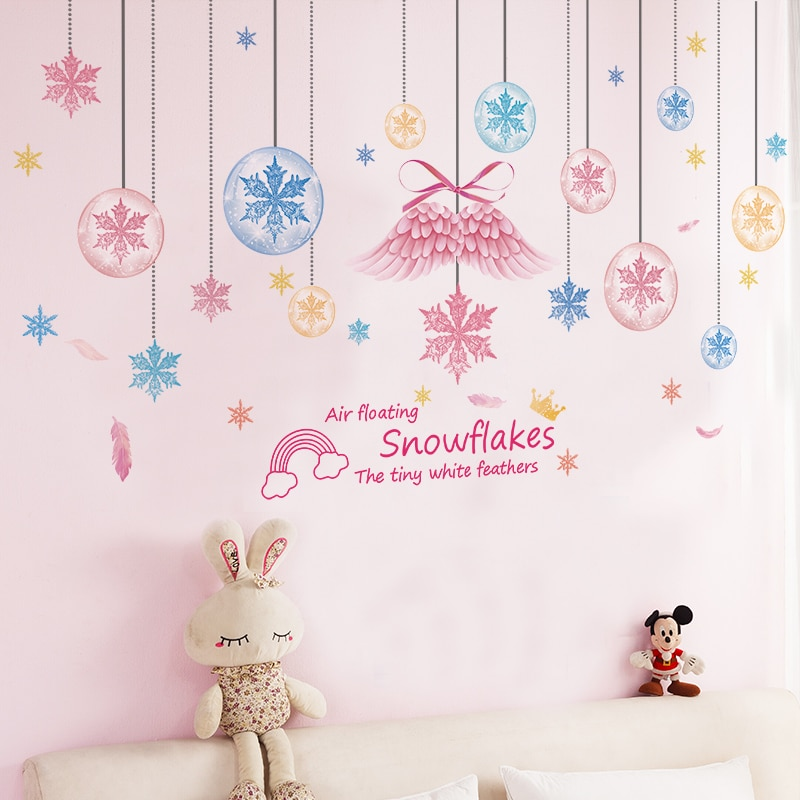 Girl on the Swing Wall Stickers DIY Snowflakes Wings Mural Decals for Kids Rooms Baby Bedroom Home Decoration Accessories