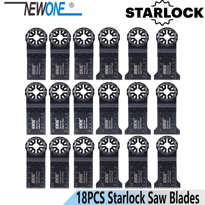 NEWONE Starlock 18 шт. осциллирующий инструмент, набор лезвий для пилы 32/45 мм, лезвия, многофункциональный инструмент, режущий триммер, лезвие для пи...