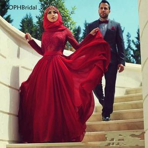 Dubai Saudi Arabic New Arrival Muslim Evening Dresses A-Line Long Sleeves Chiffon Formal Islamic Hijab Long Prom Evening Gown