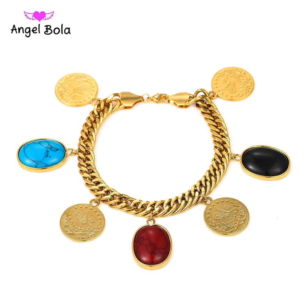 Brazalete musulmán Osmanli Turasi de turquesas Simgesi de Color dorado, joyas de Alá árabes de 22,5 CM de longitud, brazalete de moneda de Turquía para mujer