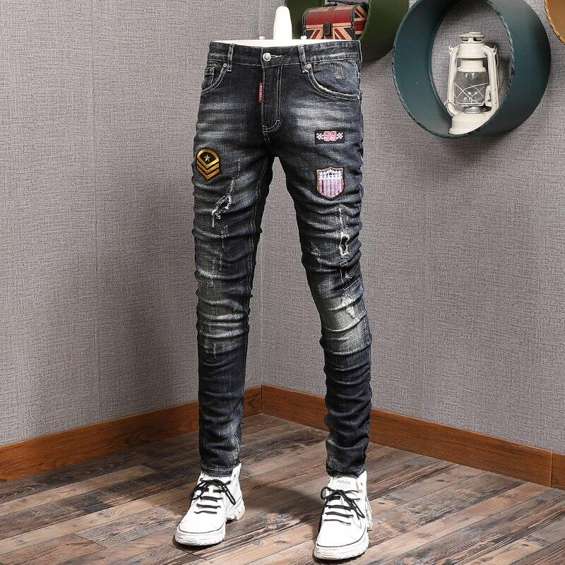 Европейские американские уличные модные мужские джинсы в стиле ретро черные синие зауженные рваные джинсы мужские дизайнерские джинсы в с...