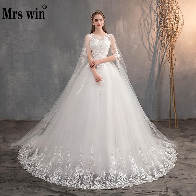 2021 Chinese Wedding Dress With Long Cap Lace Wedding Gown With Long Train Embroidery Princess Plus