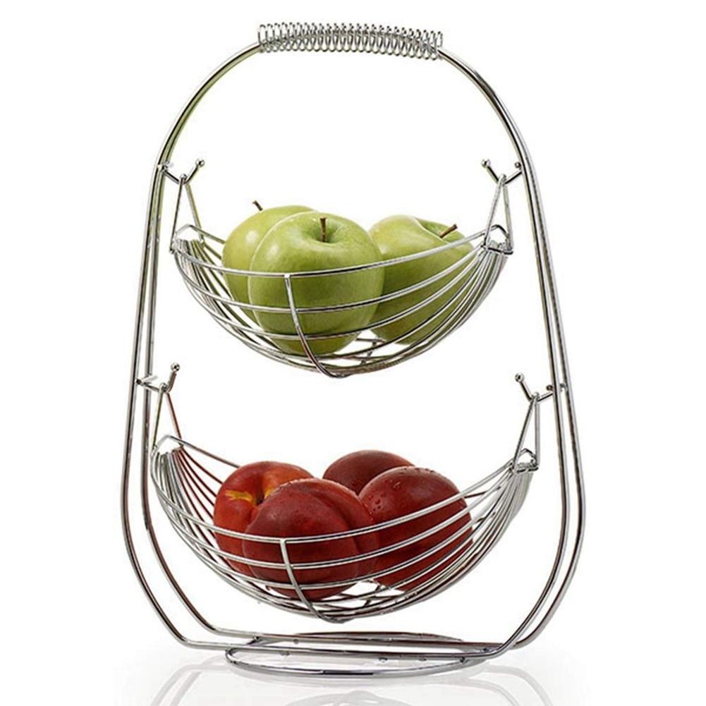 2 الطبقة الفاكهة سلة عاء حامل حامل المطبخ الخضار تخزين الفولاذ المقاوم للصدأ المنزلية المطبخ المنظم ديكور