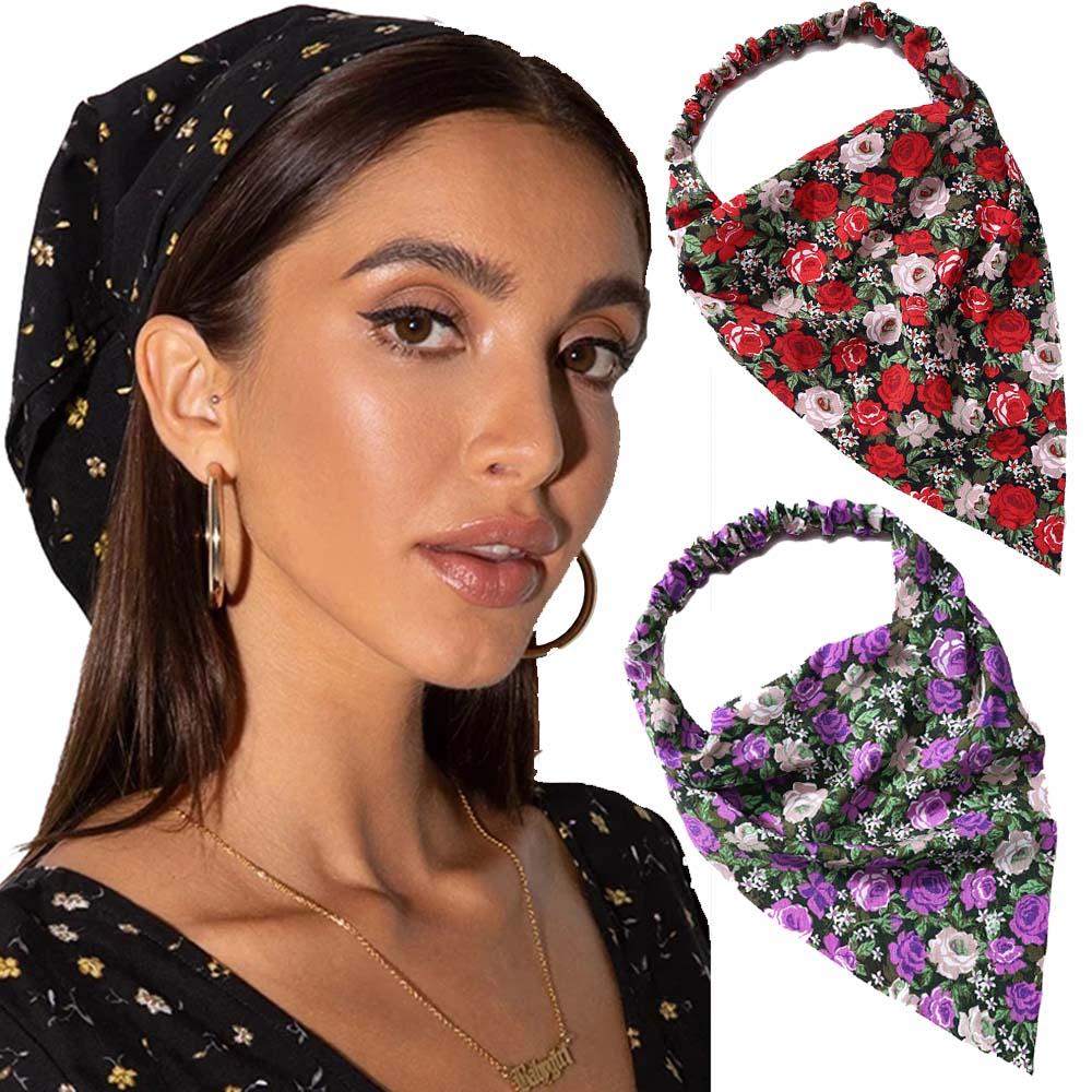 Haimeikang Bohemia Women Bandana Hair Band Scarf Print Bandana Head Wrap Hair Scarf Headwear Fashion Hair Accessories Gifts