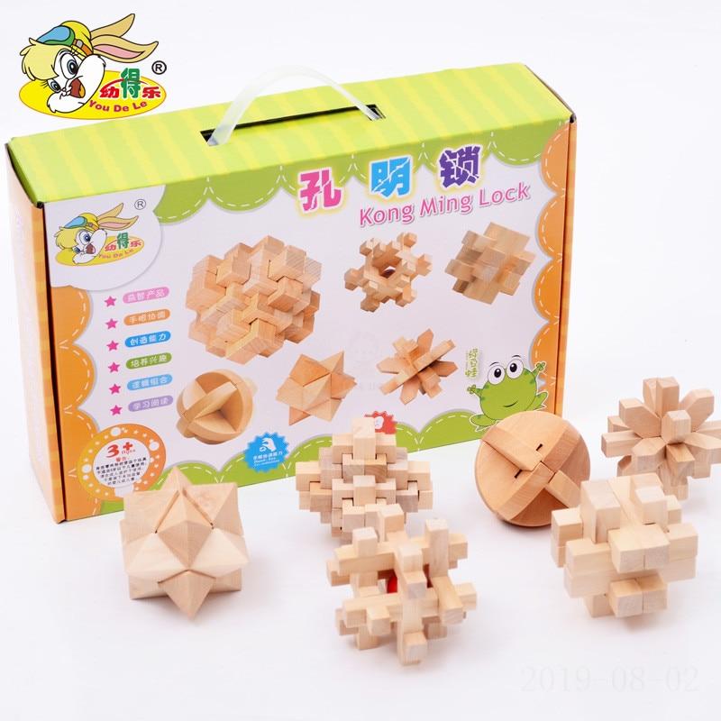Candice guo Wooden toy Intelligence wood Puzzle block Chinese Kongming lock match game baby kid children christmas gift 6pcs/set