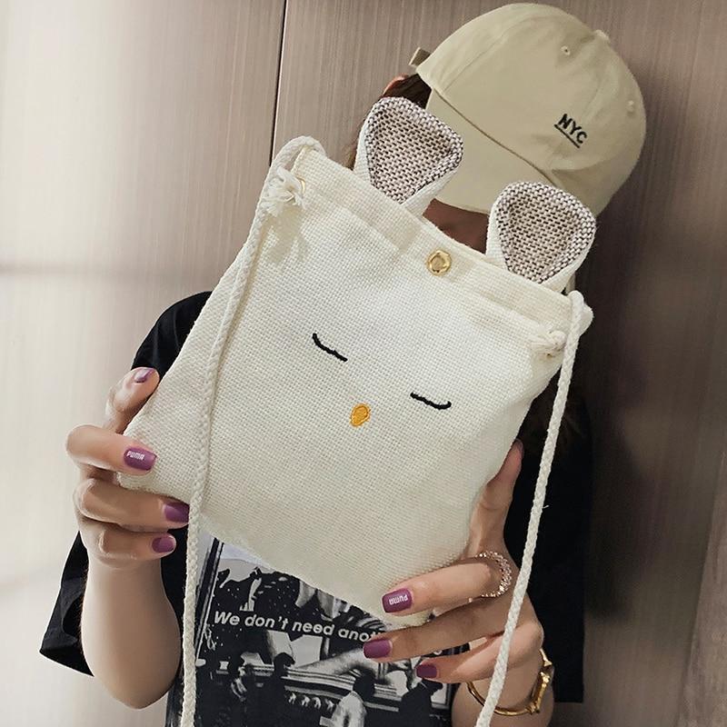 Cell Phone Bag 2021 Kawaii Bag All-match Crossbody Bag Fashion Cartoon Rabbit Canvas Cute Cheap Wome