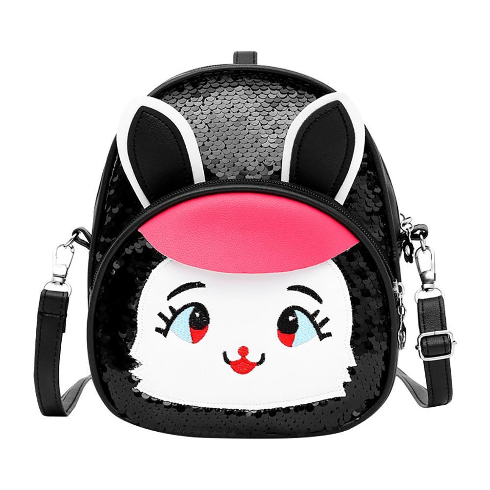 Bolso de hombro de cuero de conejo con lentejuelas para niñas de moda, mochila de princesa brillante, paquete de Bolsa Escolar de ocio, caja de cosméticos