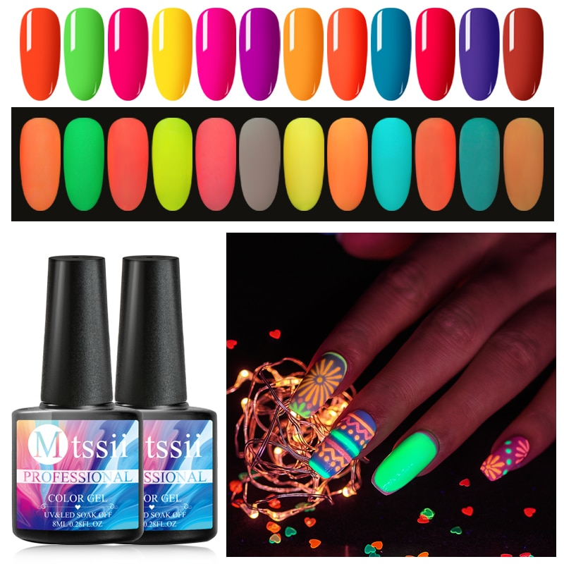 Luminous Gel Nail Polish Glow In The Dark Gel Varnish Soak Off UV Color Nail Gel Polish Fluorescent Luminous Neon Gel Lacquer