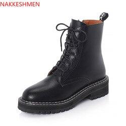 NAKKESHMEN-2020 outono novo botas femininas rendas botas femininas estilo britânico lado puxar botas curtas casuais botas femininas