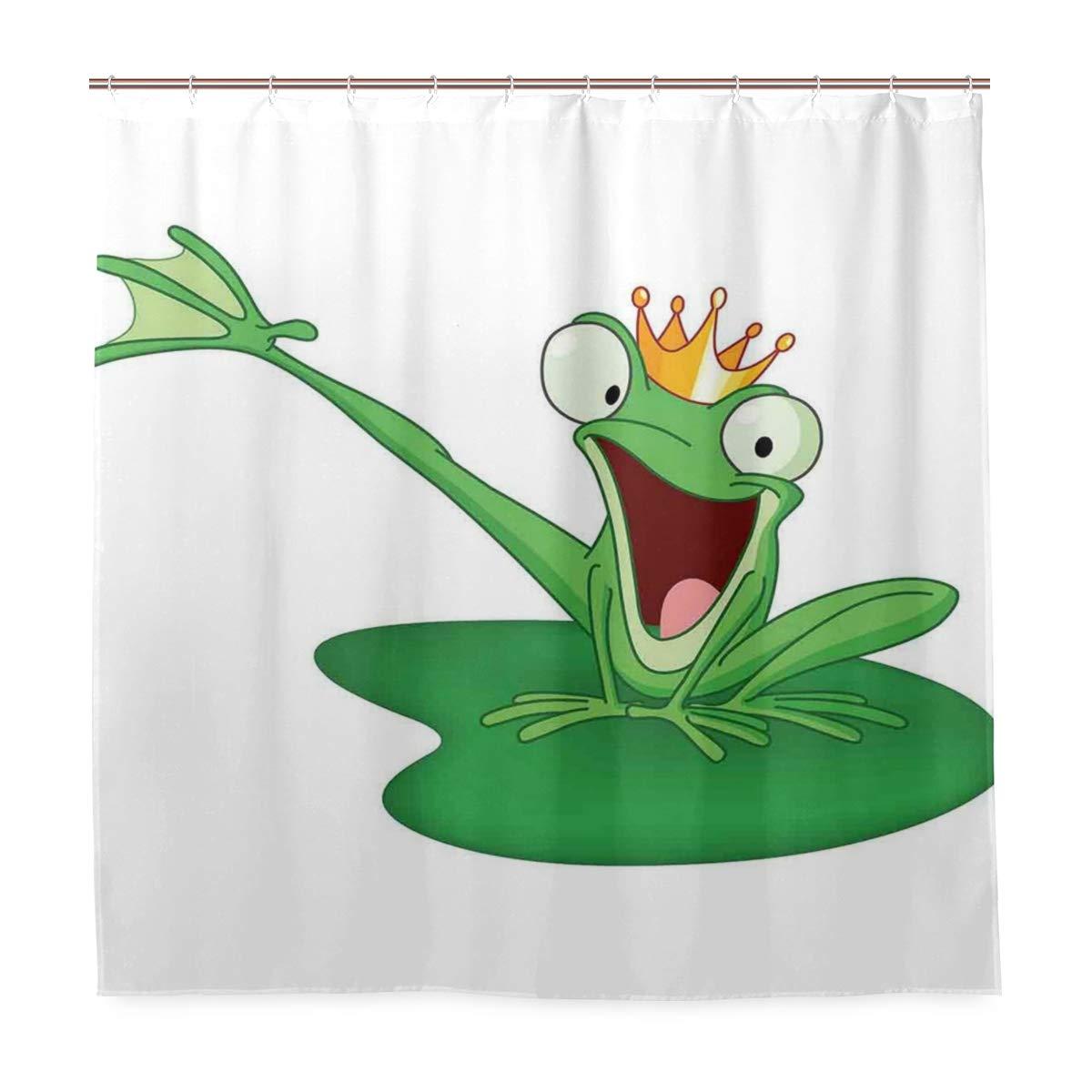Original cortina de chuveiro sapo feliz príncipe com coroa o lago caráter romântico amor conto de fadas eco-friendly com 12 ganchos em
