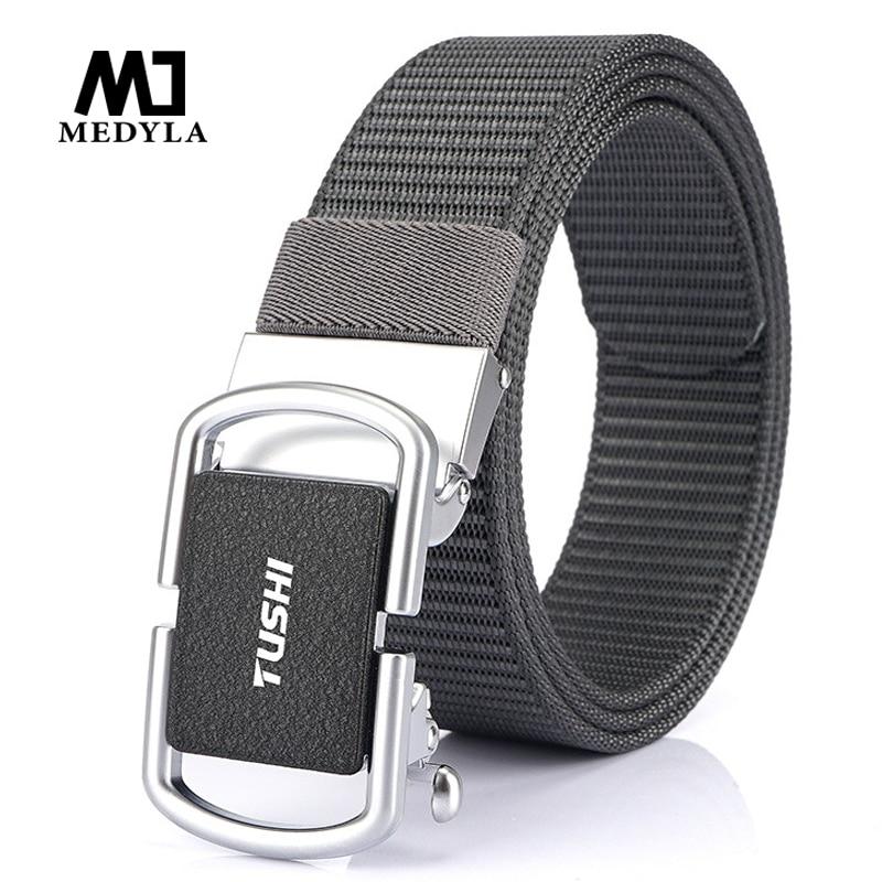 Medyla 2020 Mens Military Nylon Belt New Technology Automatic Buckle Hard Metal Tactical Belt for Men 3.5cm Sports Belt