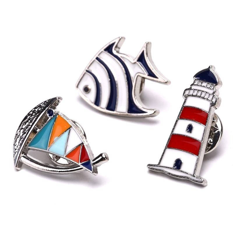 Sailboat Lighthouse Fish Brooches Man Women Blue Red Sailboat Helm Enamel Lapel Pins And Brooches Je