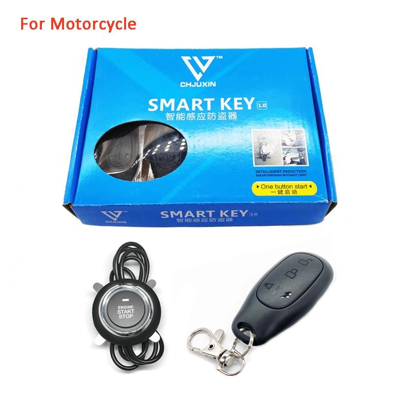 Motorcycle Alarm Keyless Start System PKE Remote Control Moto Lock Engine Button Start One Key Ignition Theft Protection Warning