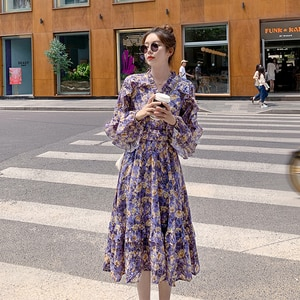 Dresses for Women Summer Purple V-Collar Midi Skirt Autumn Winter   French Vintage Ruffled Floral Long Sleeve Dress   Dresses