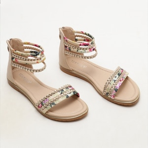 2021 new ladies flat Roman shoes fashion casual sandals vacation travel sandals floral cloth summer open-toed beach flats