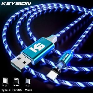 Магнитный кабель KEYSION со светодиодной подсветкой, кабель Micro USB для Samsung, зарядный кабель Type-C для Xiaomi, iPhone, Магнитный зарядный шнур