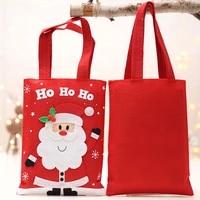 1p 27x20cm large christmas santa claus storage bag cute elk snowman cloth handbag with 16cm handle festival party gifts supplies