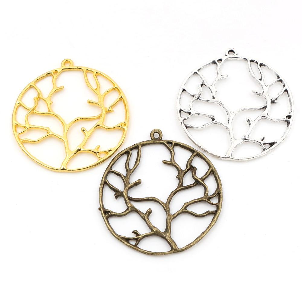 Pingente feito à mão dos encantos do estilo da árvore diy para o colar da pulseira-44x39mm 5 pces prata antiga chapeado e bronze e cores do ouro