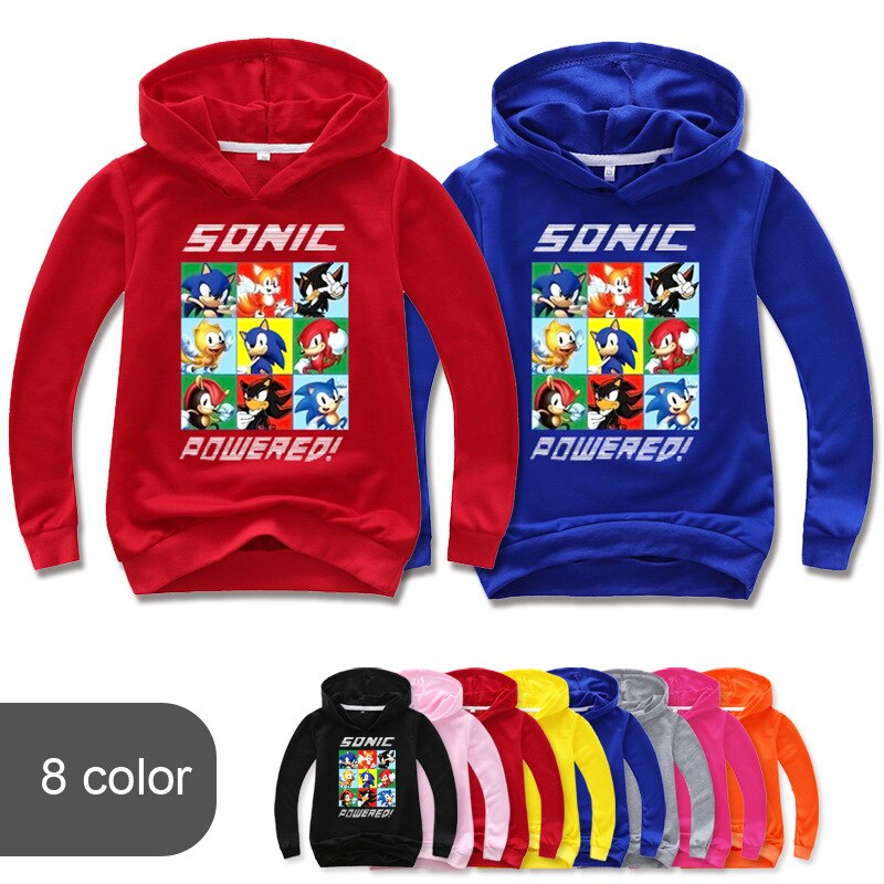 2 16y sonic o ouriço hoodie hoodie crianças casaco meninos camisolas hoodies pullovers outerwear jaqueta agasalhos meninas streetwear com capuz Agasalhos e moletons    -