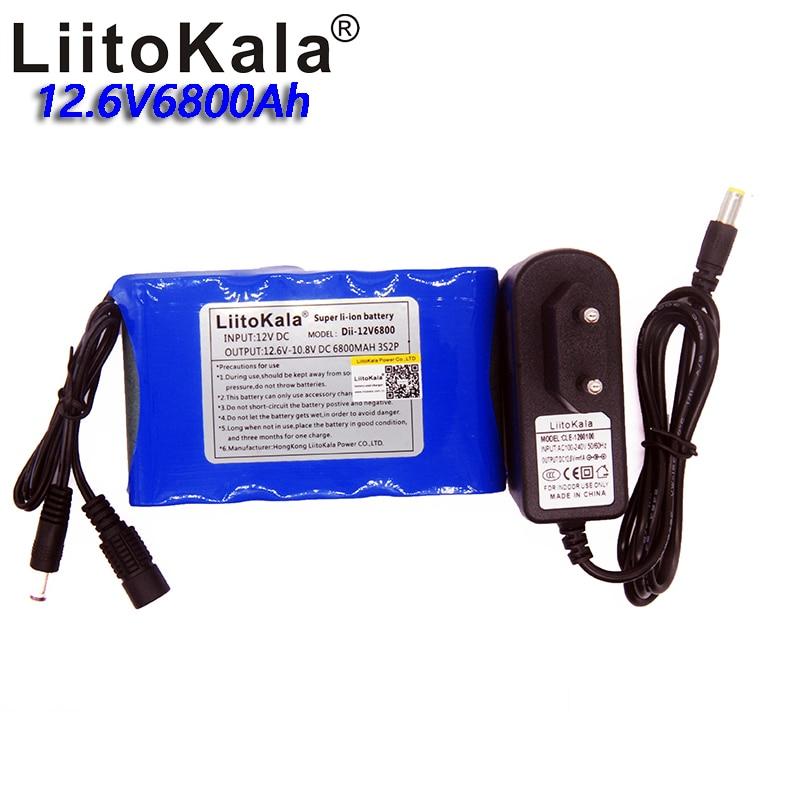 Liitokala 12V 6800mAh 3S2P large capacity 18650 Li battery DC charging headband protection board with 1A charger