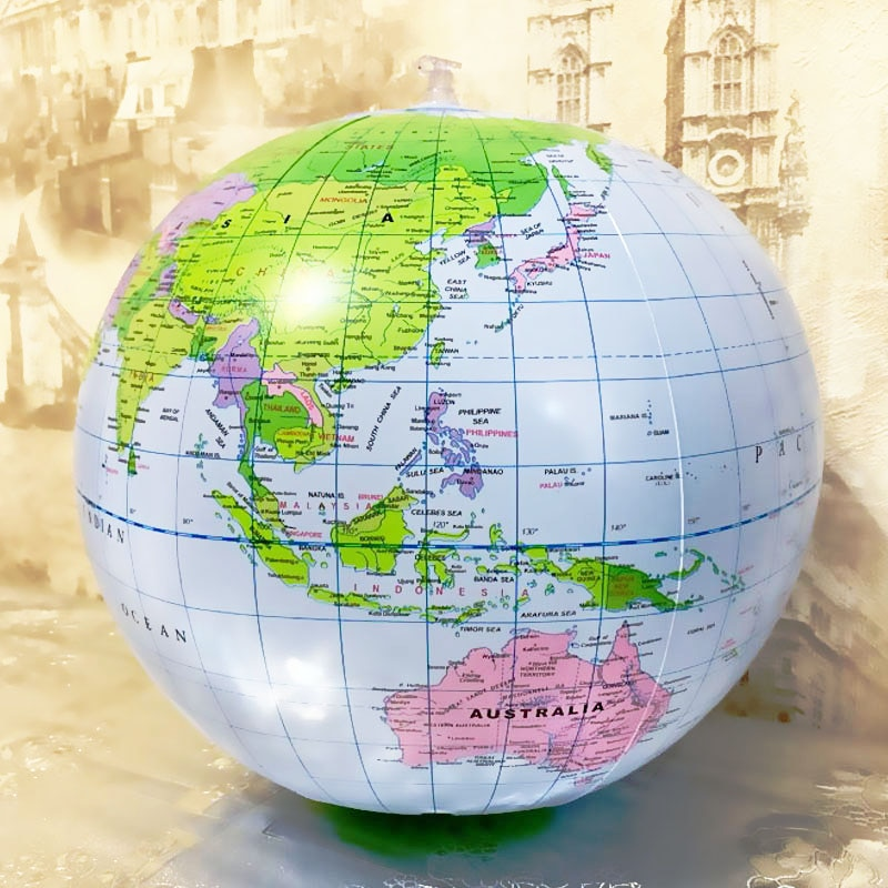 16Inch Inflatable Globe World Earth Ocean Map Ball Geography Learning Educational Beach Kids Supplies