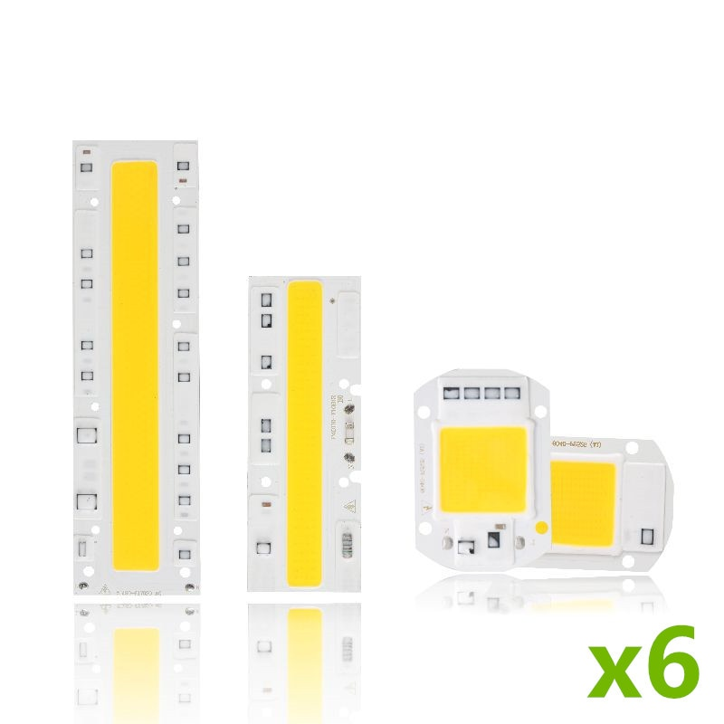 6Pcs Cob Led Lamp Chip 110V 220V High Power 10W 20W 30W 50W 100W 120W Input Smart IC No Driver LED Bulb Flood Light Spotlight