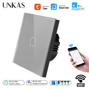 UNKAS Tempered Crystal Glass Panel EU/UK WIFI Smart Touch Wall Switch APP Wireless Remote Light Works With Alexa / Google Home