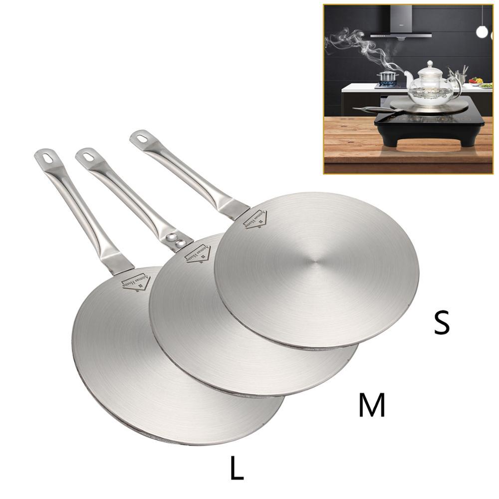 Индукционная варочная панель S/M/L, конвертер из нержавеющей стали, дисковая пластина, преобразователь тепла, кухонная посуда 19,5/21,5/23,5 см